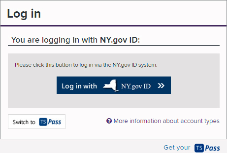 Log In Form with NY.gov ID selected