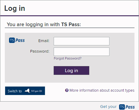 Log in Form with TS Pass selected